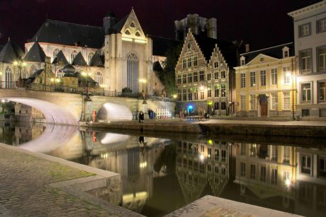 Ghent_canal,_night